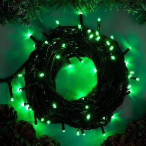 Гирлянда Нить 40м, 32V, шнур зелен. цв., 500 LED бел.теп. пост. свеч., соединяемая, с трансф.