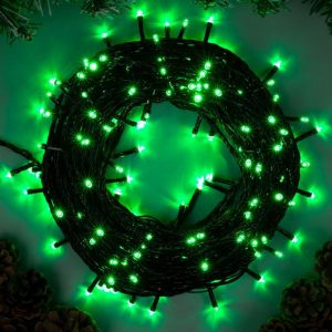 Гирлянда Нить 40м, 32V, шнур зелен. цв., 500 LED цветных. пост. свеч., соединяемая, с трансф.