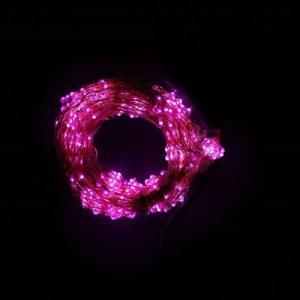 """Гирлянда Нить """"Роса""""(Конский хвост), 12В, пров. цв. шампань, 380 LED розовых( мини), с БП"""
