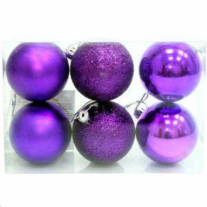 Рождественская декор. (Набор шаров 8 см, 6 штук) слива