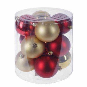 Рождественский набор шаров 8 см, 24 штуки, красный+ золото,