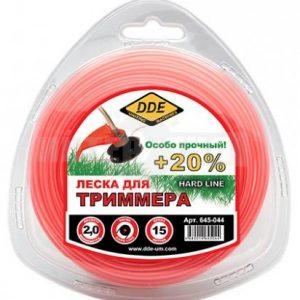 """леска DDE """"Hard line"""" (круг армир) 2,0 мм х 15 м, серый/крас"""