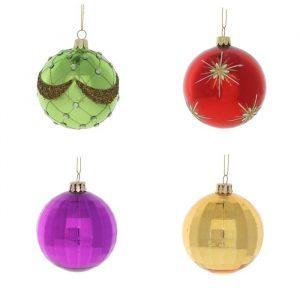 Рождественская декор. (Шары 8 см, в наборе 4 шт., цвет разноцветный)