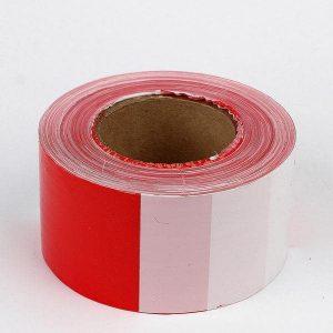 лента сигнальная 75мм х 250м красно-белая