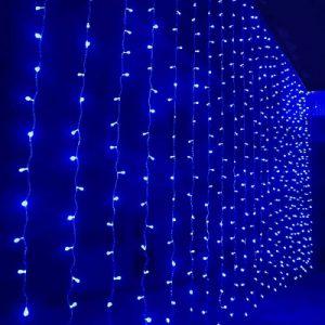 занавес световой ( водопад) 2x3м, 220В, шнур прозр. цв., 320 синих ламп, IP20