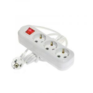 удлин. LUX У3-ЕВК-03 3м/3гн з/к 16А с выкл. белый