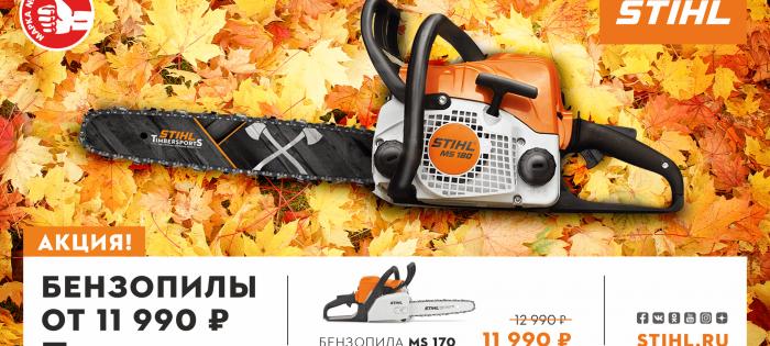 Осенняя акция на бензопилы «МАРКА №1 в России»!